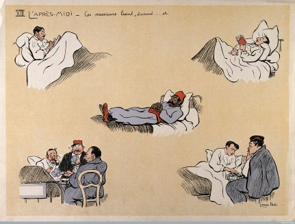 V0015716 Comical scenes of hospital patients engaged in reading, writ Credit: Wellcome Library, London. Wellcome Images images@wellcome.ac.uk http://wellcomeimages.org Comical scenes of hospital patients engaged in reading, writing, playing cards, etc. Coloured lithograph after L. Ibels, 1916. 1916 By: Louise Catherine IbelsPublished: - Copyrighted work available under Creative Commons Attribution only licence CC BY 4.0 http://creativecommons.org/licenses/by/4.0/