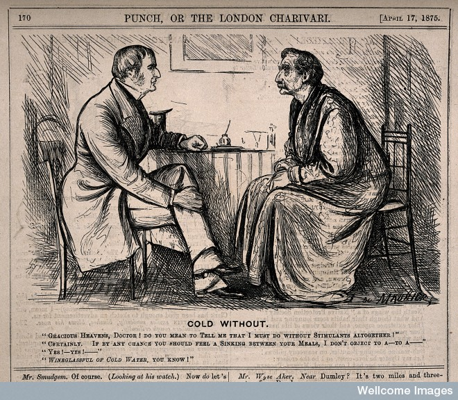 A patient dismayed at his doctor's advice not to drink any alcohol. Wood engraving by G. Du Maurier, 1875. Wellcome Library, London.