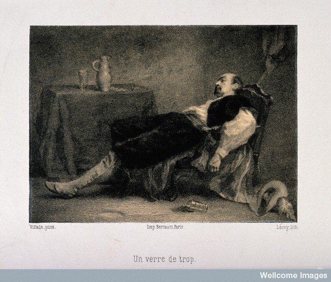 V0019482 A man lies dead or unconscious in his chair, his last glass Credit: Wellcome Library, London. Wellcome Images images@wellcome.ac.uk http://wellcomeimages.org A man lies dead or unconscious in his chair, his last glass of drink fallen from his hand. Lithograph by Lamy, c. 1860, after Villain. 1860 By: Francois Le Villainafter: Pierre Auguste LamyPublished: - Copyrighted work available under Creative Commons Attribution only licence CC BY 4.0 http://creativecommons.org/licenses/by/4.0/