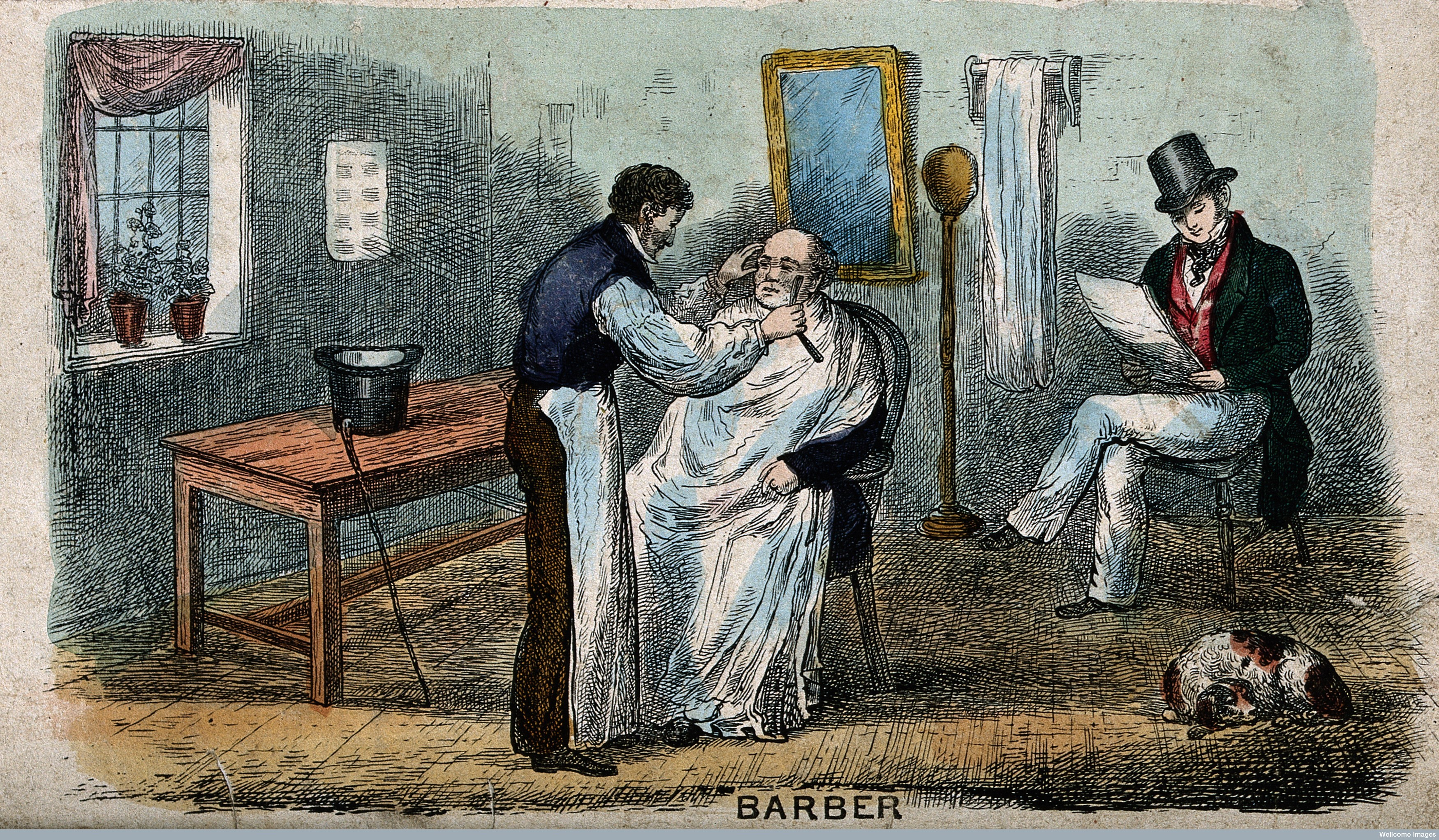 V0019668 A barber shaving a man; another man sits in the background a