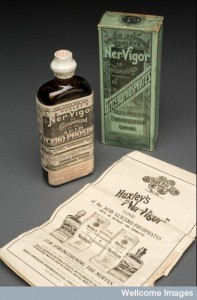 L0058547 Bottle of Huxley's 'Ner-Vigor', England, 1892-1943 Credit: Science Museum, London. Wellcome Images images@wellcome.ac.uk http://wellcomeimages.org Huxley's 'Ner-Vigor' was sold as a strengthening tonic for the nerves and to improve digestion. Made by the Anglo-American Pharmaceutical Co Ltd, based in Croydon, the tonic was prescribed for clinical depression, neurasthenia, anaemia, rickets, and sciatica. It was suggested that a teaspoonful should be added to half a wine glass of water and drunk three times a day after meals. Like some other medical products of the period, it contains a very small measure of the highly dangerous poison strychnine. The makers of the tonic claimed that it received favourable reviews in the medical press. maker: Anglo-American Pharmaceutical Company Limited Place made: Croydon, Croydon, Greater London, England, United Kingdom made: 1892-1943 Published:  -  Copyrighted work available under Creative Commons Attribution only licence CC BY 4.0 http://creativecommons.org/licenses/by/4.0/