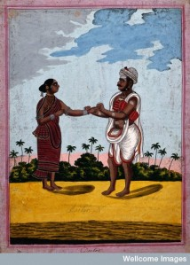 Indian doctor taking the pulse of a patient. Gouache drawing. (Wellcome Library, London.) Copyrighted work available under Creative Commons