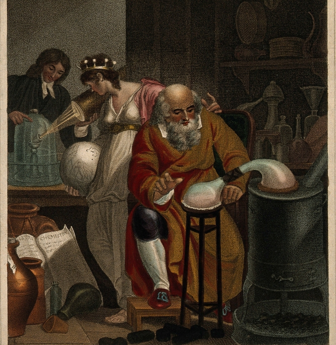 A man conducts an alchemical experiment with an alembic. Coloured stipple engraving by J. Chapman, 1805, after R. Corbould. Image credit: Wellcome Collection.
